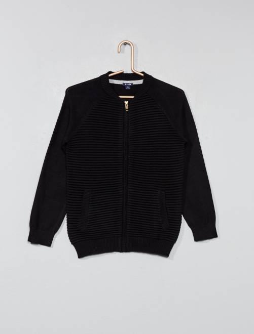 Veste zippée côtelée                                                     noir