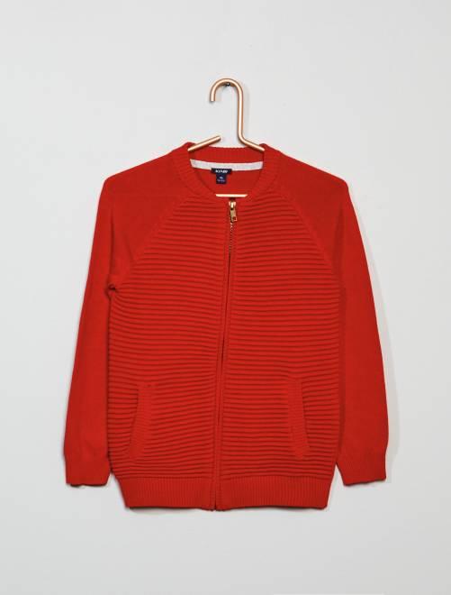 Veste zippée côtelée                                                                 rouge Garçon