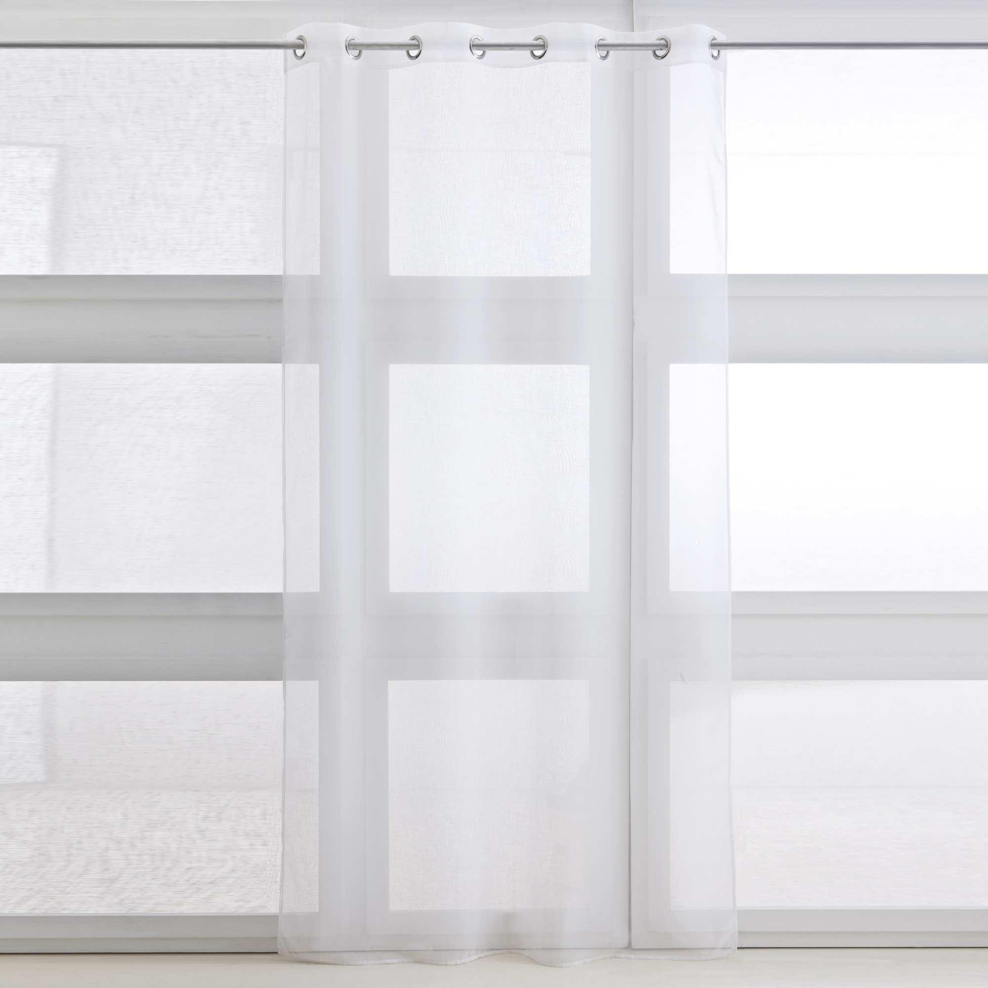 voilage oeillets linge de lit blanc kiabi 6 99. Black Bedroom Furniture Sets. Home Design Ideas